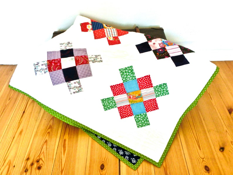 Babyquilt Granny Square Upcycling Quilt Patchwork Blanket Baby image 0