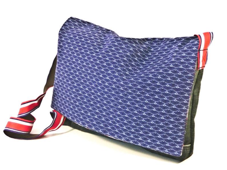 Children's bag Messenger bag blue red white Upcycled image 0