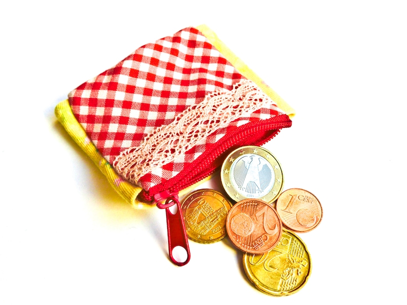 Children's purse for the wrist pulse bag jogger exchange blumen gelb/rot weiß