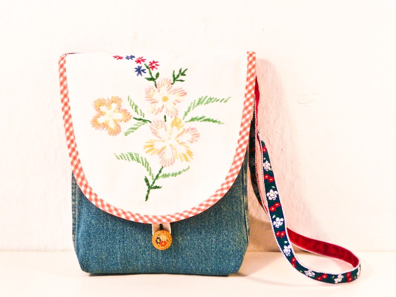 Children's bag Upcycled Jeans Hand Embroidery Flowers image 0