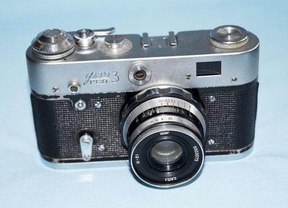 Vintage FED 4 Soviet Camera 35mm Foto USSR Photo Camera with case Made in USSR reflex camera decor