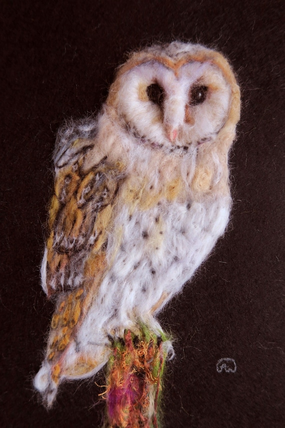 Unikat Beautiful Barn Owl Owl Uhu 2d Felted Needle Felted Barn Owl Picture Felt Wool Picture Wall Hanging Wool Painting