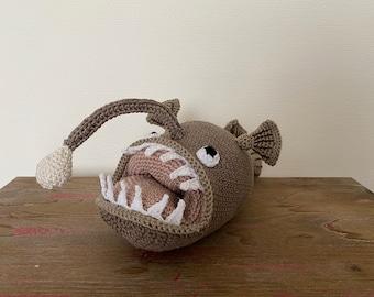 Deep-sea anglerfish crocheted