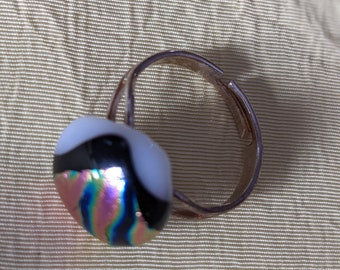 Transparent glass fusing Dichroic Glass ring DUO