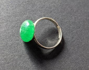 Ring Silver Clear Green Colored Glass Handmade Glass Silver Jewelry Ring Fun Clear Green Color Glass Unique