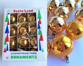 LOT 12pc vintage 50s Christmas ornaments set - gold yellow round hand blown mercury glass bulbs - birthday holiday gift decoration