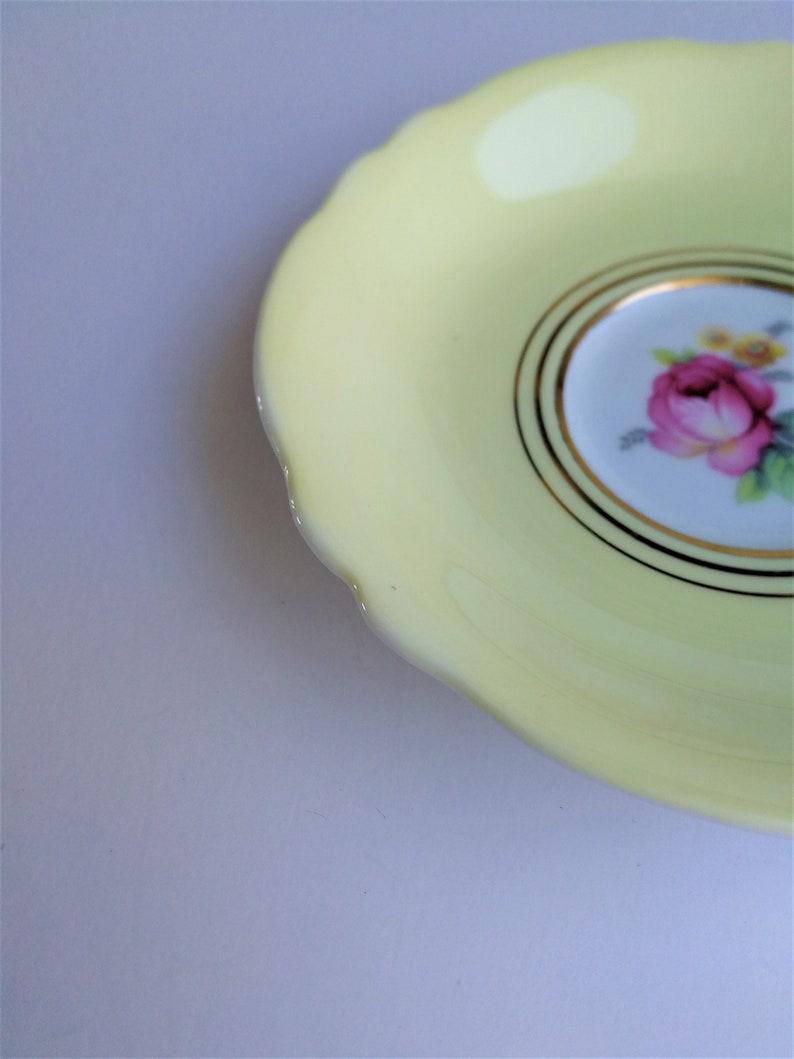 retro wedding home decor birthday holiday gift yellow green borders floral motif LOT of 2 vintage bone china saucers Paragon /& Rosina