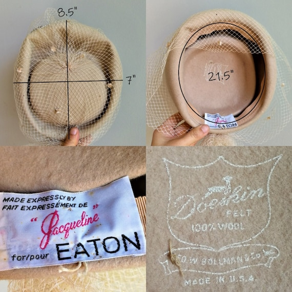 EATON Vintage 50s beige wool felt pillbox veil ha… - image 9