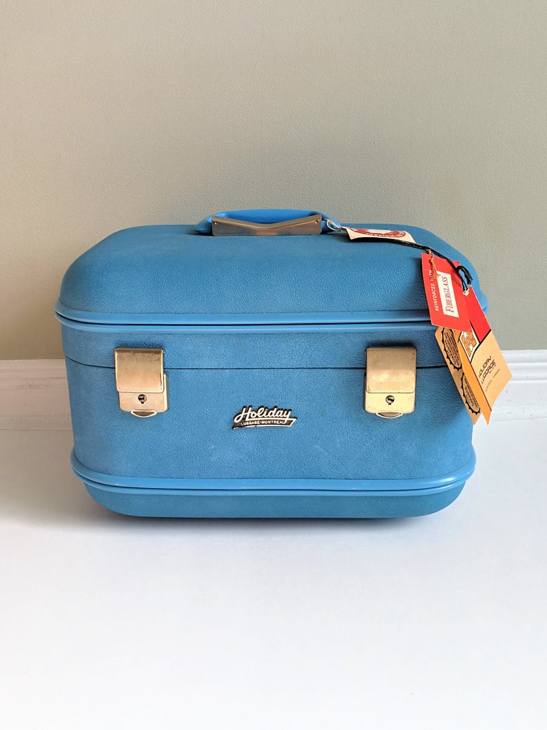d00004643f1d7b NWT Vintage 60s blue cosmetic travel train case HOLIDAY | Etsy
