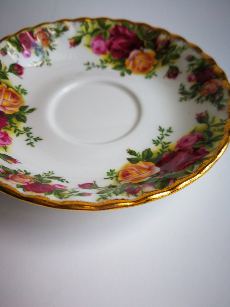 ROYAL ALBERT Old Country Roses vintage bone china tea saucer replacement burgundy pink yellow roses wedding home decor birthday gift