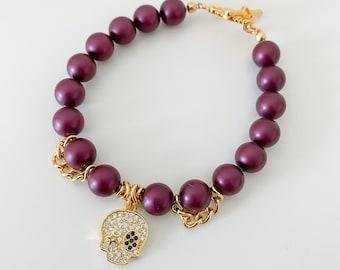NEW 14K skull bracelet - skull crystal bracelet grunge style halloween