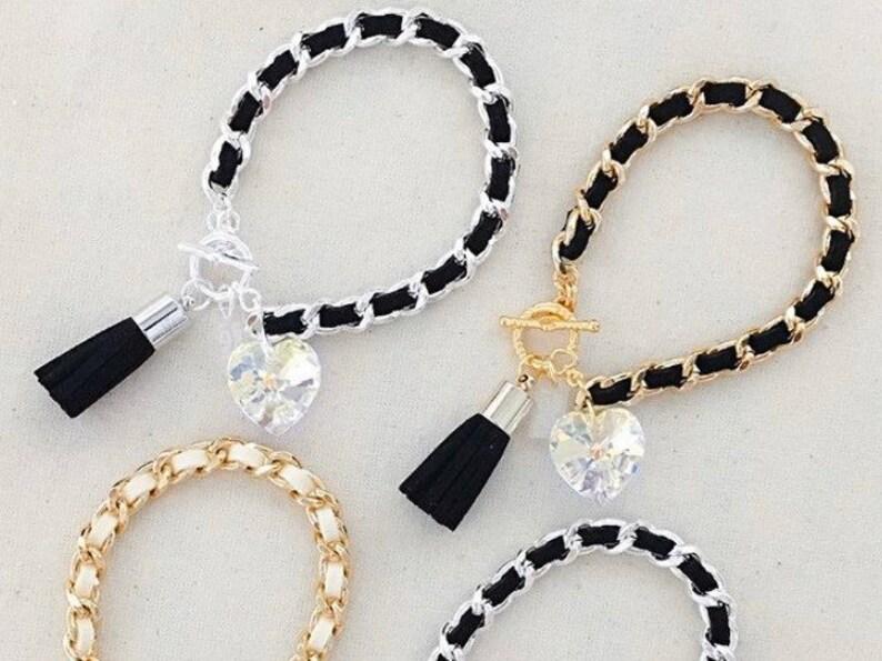 Heart & Tassel Bracelet in Jet Black  Suede heart tassel image 0