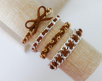 September Promo Shade of the Month - Cross Weave Bow Wrap Braid COCOA - Suede bracelet, colorful friendship bracelet, chain jewelry