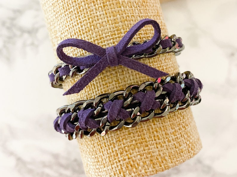 Suede of the Month  November Plum  Gunmetal Hardware Suede image 0