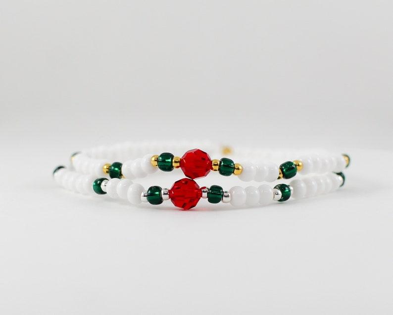 Stretchy Beaded Bracelet in Jingle  semi precious swarovski image 0