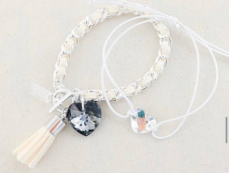 Heart & Tassel Bracelet in Buttercream  Suede heart tassel image 0