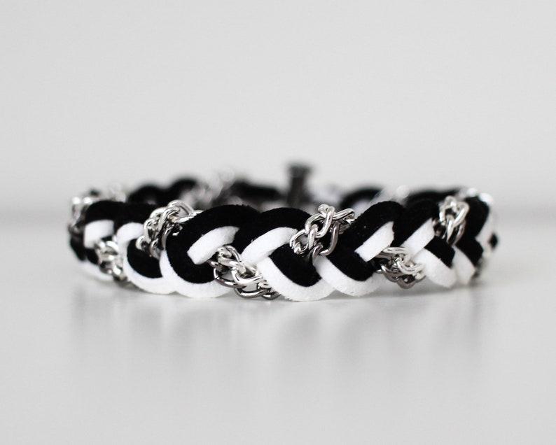 Braided Bracelet in Black/White Stripe  Suede bracelet image 0