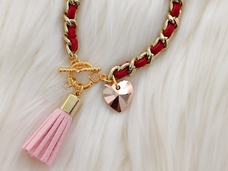 Heart & Tassel Bracelet in Rose Gold Valentine  Suede heart image 0
