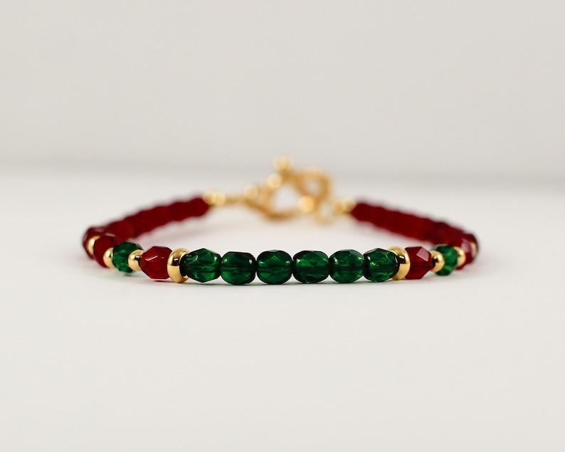 Tinsel Bracelet in Mistletoe  semi precious swarovski image 0