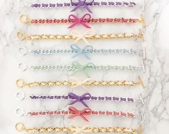 Bow Bracelets - bow jewelry, suede bracelet, colorful friendship bracelet, chain jewelry, best seller