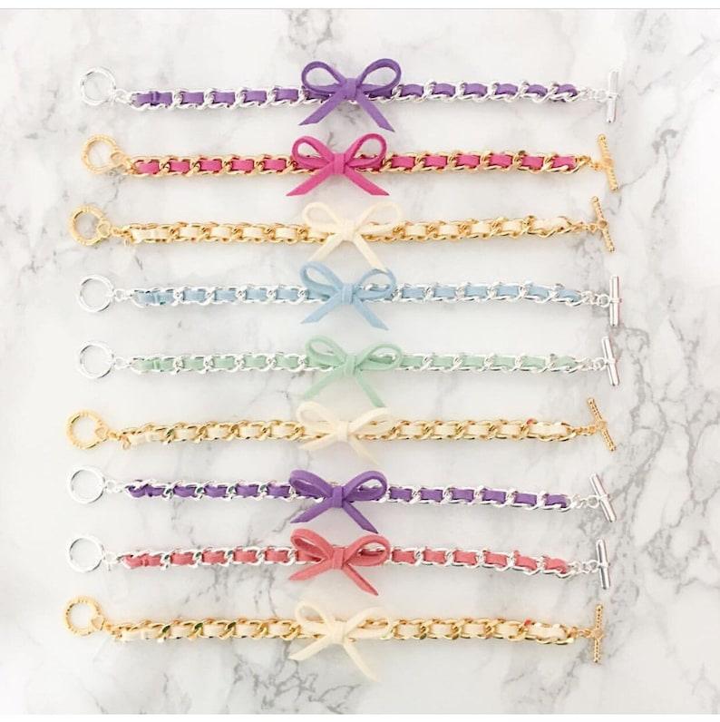 Bow Bracelets  Suede bracelet colorful friendship bracelet image 0