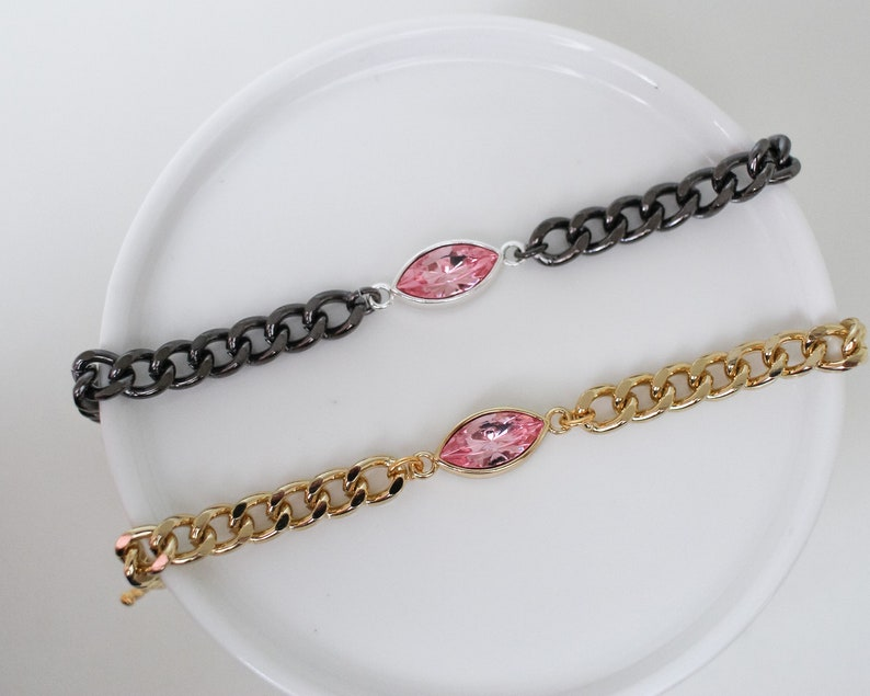 LIMITED EDITION  Think Pink Vintage Rose Crystal Chain  image 0