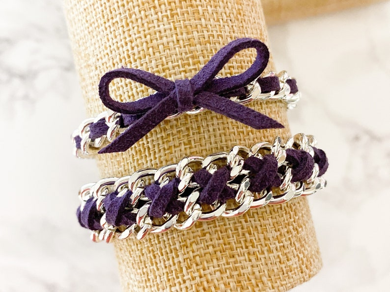 Suede of the Month  November Plum  Silver Hardware Suede image 0