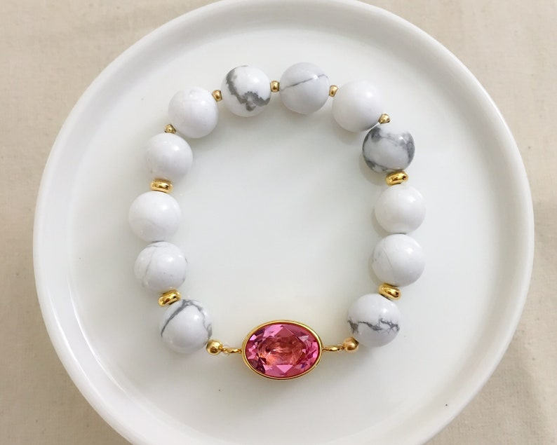 Think Pink Crystal Marbled Bracelet  Breast Cancer Awareness image 0