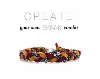 Create Your Own Skinny Braid - Suede bracelet, colorful braid friendship bracelet, chain jewelry