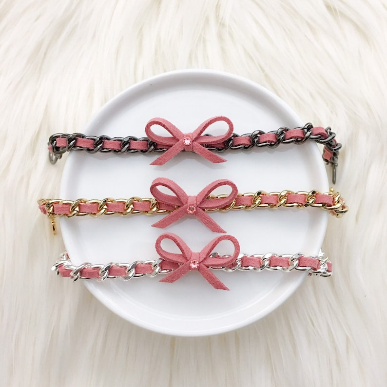 Think Pink  Bow Chain Bracelet in Vintage Pink  Breast image 0