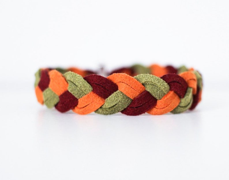 Braided Bracelet in Apple Orchard  Suede bracelet colorful image 0