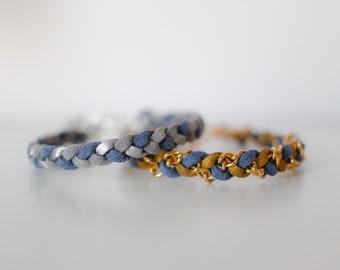 Skinny Single Braid in Winter Metallic - Suede bracelet, colorful braid friendship bracelet, chain jewelry