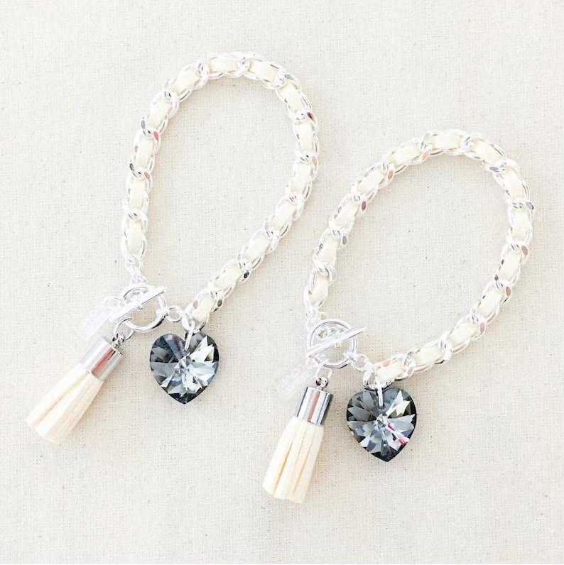 Heart & Tassel Bracelet in Silver Gray Suede heart tassel image 0