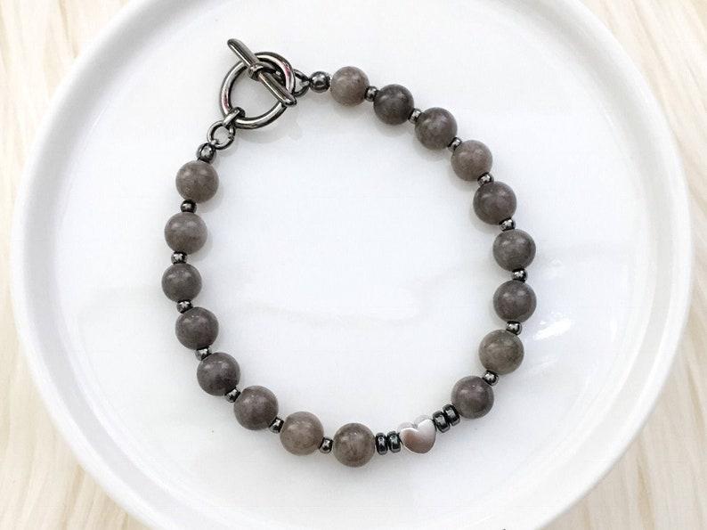 Everyday Heart Beaded Bracelet semi precious swarovski image 0