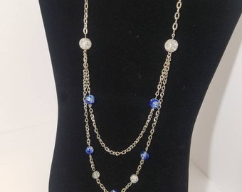 Blue Crackle Bead Layered Chain Necklace
