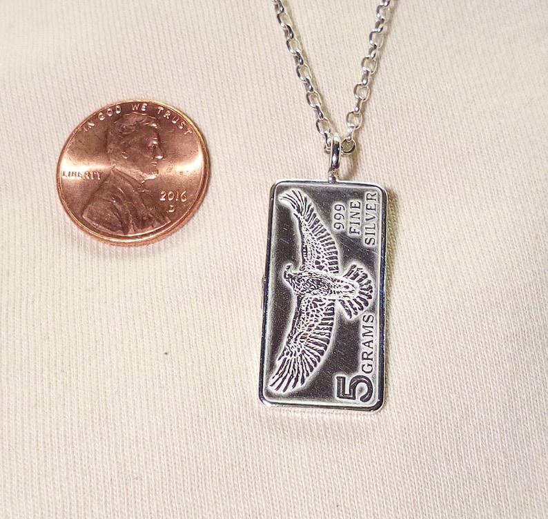 5 Grams Eagle 999 Fine Silver Bar Pendant
