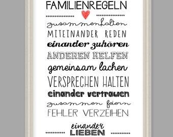 """Art print, poster, family gift """"family rules"""""""