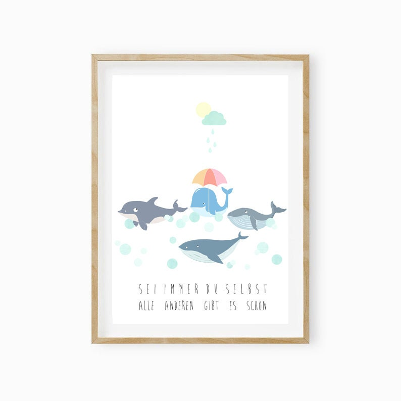 Gift Baptism Whale Poster Nursery Nursery Poster Gift Birth Be Naughty and Wild