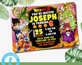 Instant Download Dragon Ball Invitation Z Party Supplies Birthday
