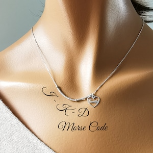 Partner Morse Code Neck Necklace Custom 925 Sterling Silver with 1.5mm Tubes  Beads and Heart Pendant Name Friendship
