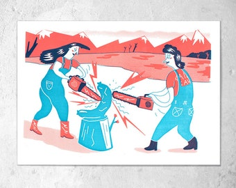 "Screen printing 2-coloured A4 ""chainsaw Art""/K. Cruz"