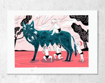 """Risography 3-color """"Romulus and Remus"""" A5 K. Cruz"""
