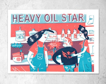 "Screen printing 2-colour A4 ""heavy oil star""/K. Cruz"