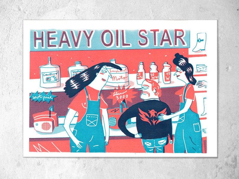 Screen printing 2-colour A4 heavy oil star/K. Cruz image 0