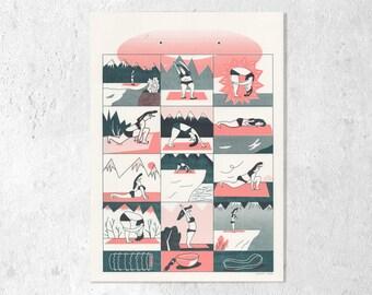 "Risography 2-color ""Yoga with Mona"" A3 Cruz"
