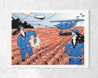"Risography ""Rose cabbage harvest"" A5 3-coloured signed K. Cruz"