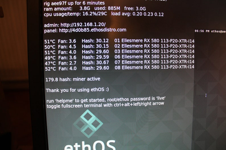 Ethereum Mining-Rig 180-210 MH/S 7x AMD 8GB Radeon RX580 XFX