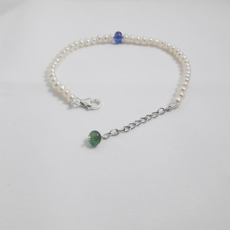 925 Solid Sterling Silver Pearl Beads /& Tanzanite Emerald Gemstone Bracelet Round Shape