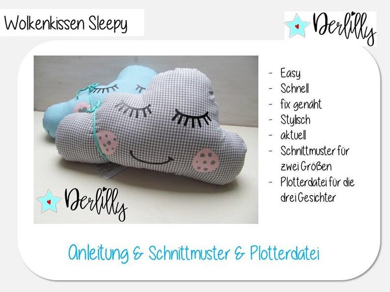 024 Wolkenkissen Sleepy: Nähanleitung & Plotterdatei image 0