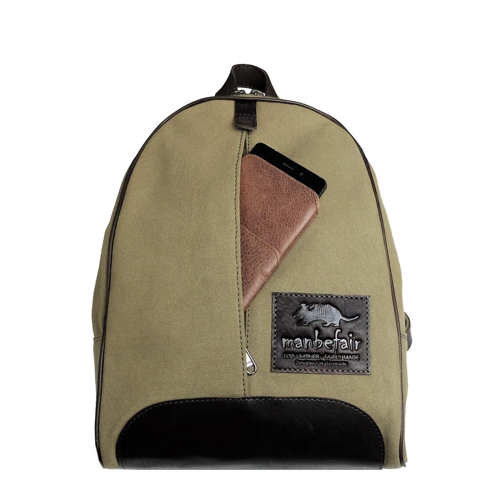 8350251d3465f Manbefair Fair Trade backpack Girona olive